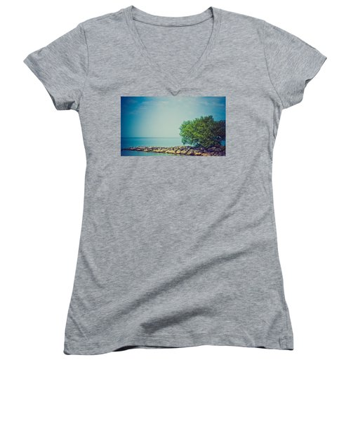 Women's V-Neck T-Shirt (Junior Cut) featuring the photograph Paradise Cove by Sara Frank