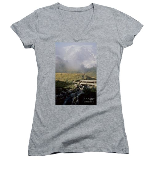 Women's V-Neck T-Shirt (Junior Cut) featuring the photograph Paradise Valley by Sharon Elliott