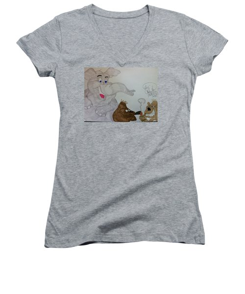 Partying Animals Cartoon Women's V-Neck (Athletic Fit)
