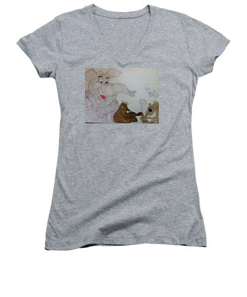 Partying Animals Cartoon Women's V-Neck T-Shirt