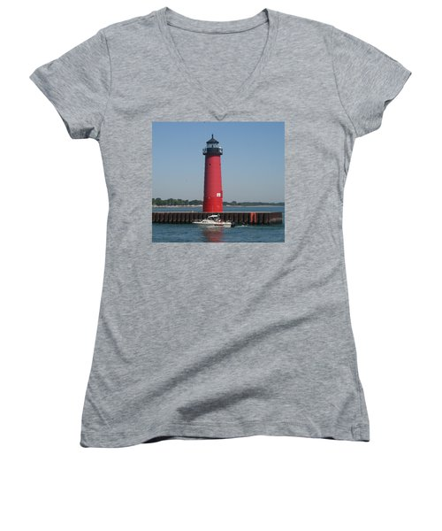 Women's V-Neck T-Shirt (Junior Cut) featuring the photograph Passing By by Kay Novy