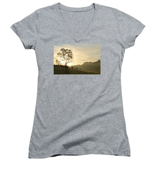 Pasture Sunrise Women's V-Neck T-Shirt (Junior Cut)