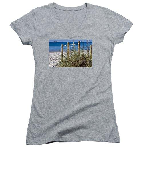 Women's V-Neck T-Shirt (Junior Cut) featuring the photograph Path To The Beach by Susan Leggett