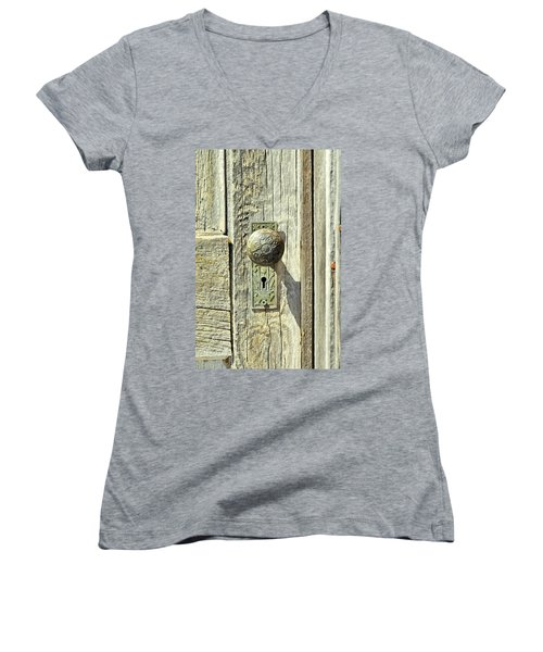 Women's V-Neck T-Shirt (Junior Cut) featuring the photograph Patina Knob by Fran Riley
