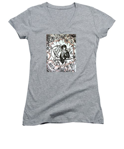 Women's V-Neck T-Shirt (Junior Cut) featuring the drawing Peace Process by Rae Chichilnitsky