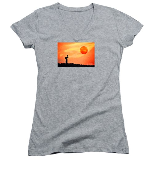 Women's V-Neck T-Shirt (Junior Cut) featuring the photograph Pelican During Hot Day by Dan Friend