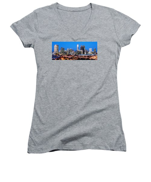 Women's V-Neck T-Shirt (Junior Cut) featuring the photograph Perth City Night View From Kings Park by Yew Kwang