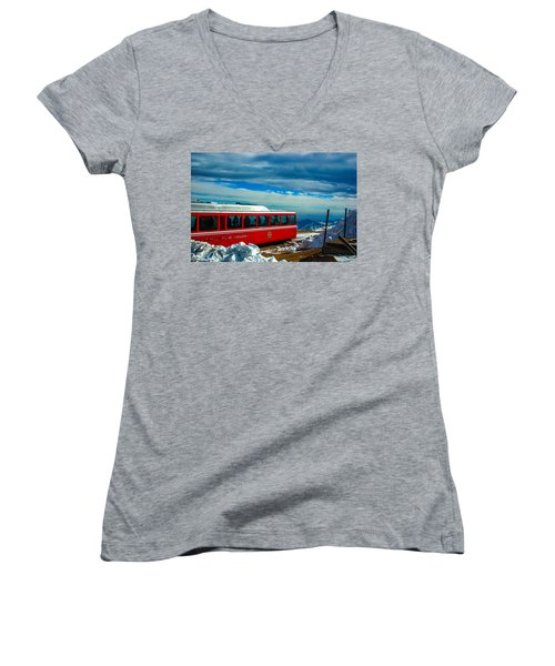 Women's V-Neck T-Shirt (Junior Cut) featuring the photograph Pikes Peak Railway by Shannon Harrington