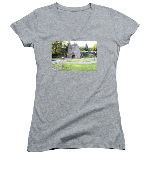 Women's V-Neck T-Shirt (Junior Cut) featuring the photograph Pine Grove Furnace State Park by Tony Cooper