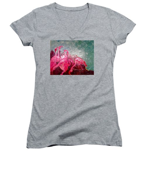 Women's V-Neck T-Shirt (Junior Cut) featuring the painting Pink Flamingoes by Ana Maria Edulescu