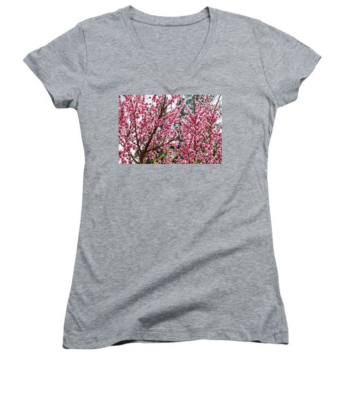 Women's V-Neck T-Shirt (Junior Cut) featuring the photograph Pink Flood by Fotosas Photography