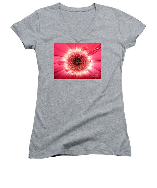 Women's V-Neck T-Shirt (Junior Cut) featuring the photograph Pink Gerbera Daisy Close-up by Kerri Mortenson