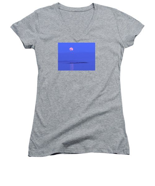 Women's V-Neck T-Shirt (Junior Cut) featuring the photograph Pink May Moon by Francine Frank