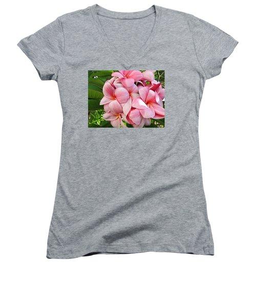 Pink Plumerias Women's V-Neck