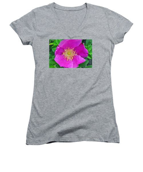 Women's V-Neck T-Shirt (Junior Cut) featuring the photograph Pink Portulaca by Tikvah's Hope