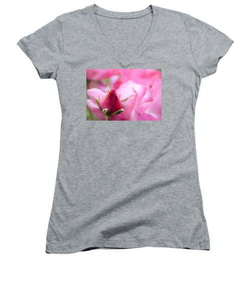 Women's V-Neck T-Shirt (Junior Cut) featuring the photograph Pink Rose by Jeannette Hunt