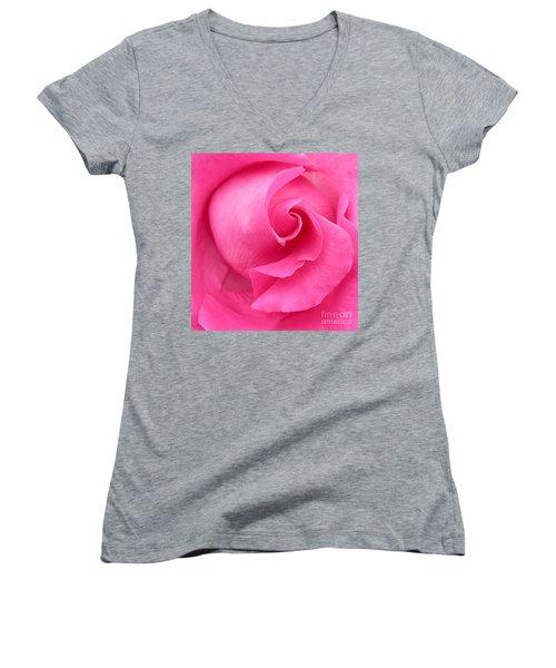 Pink Rose Women's V-Neck T-Shirt