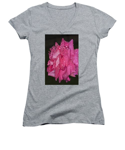Women's V-Neck T-Shirt (Junior Cut) featuring the photograph Pink Rose Wendy Cussons by Steve Purnell