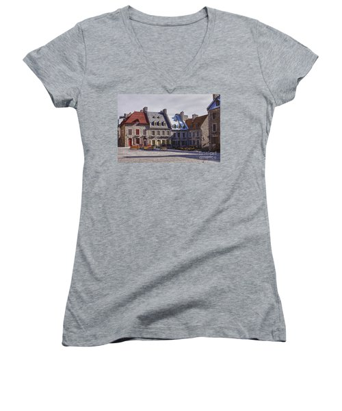 Women's V-Neck T-Shirt (Junior Cut) featuring the photograph Place Royale by Eunice Gibb