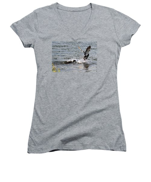 Women's V-Neck T-Shirt (Junior Cut) featuring the photograph Playing Chase by Kathy  White