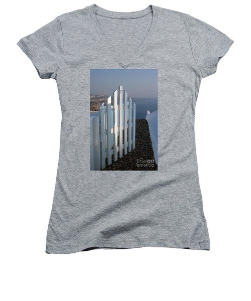 Please Come In Women's V-Neck T-Shirt (Junior Cut) by Vivian Christopher