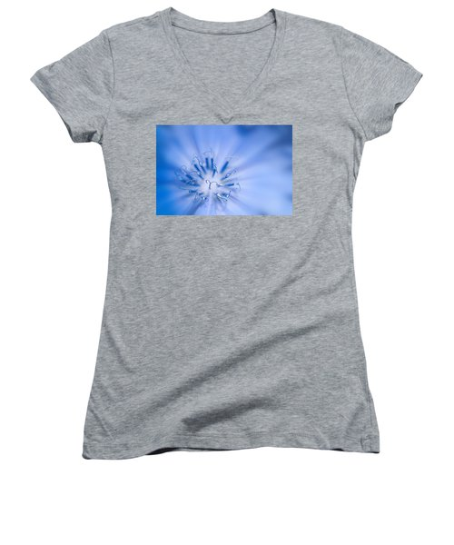 Women's V-Neck T-Shirt (Junior Cut) featuring the photograph Pollination  Blue Chicory by Randall Branham