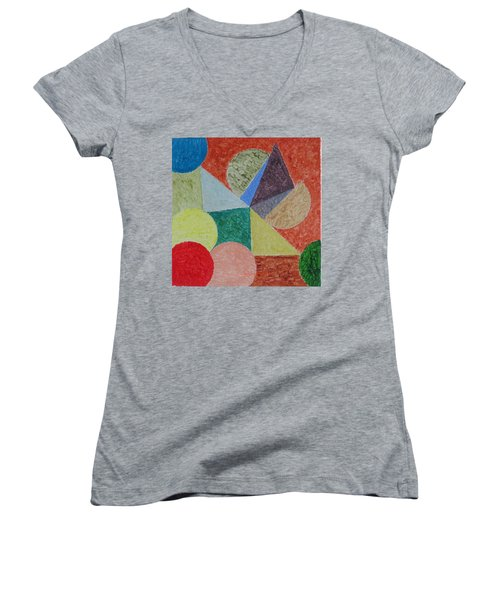 Women's V-Neck T-Shirt (Junior Cut) featuring the painting Polychrome by Sonali Gangane
