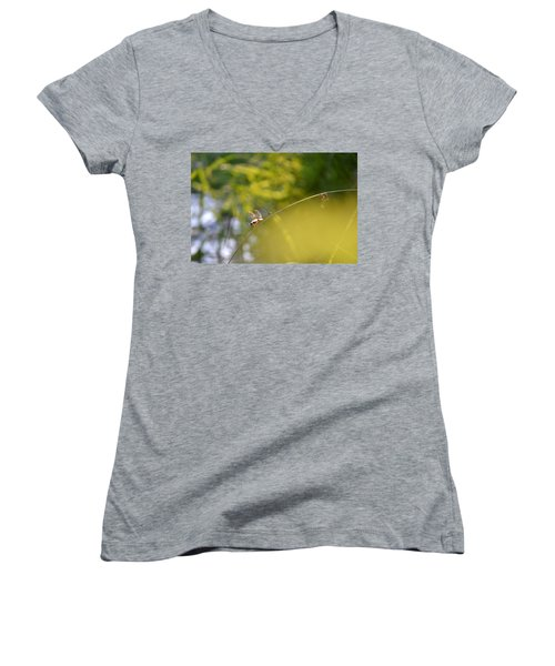 Women's V-Neck T-Shirt (Junior Cut) featuring the photograph Pond-side Perch by JD Grimes