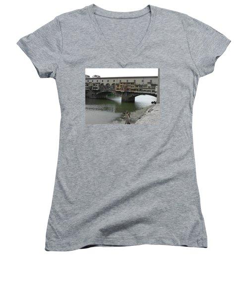 Women's V-Neck T-Shirt (Junior Cut) featuring the photograph Ponte Vecchio by Laurel Best