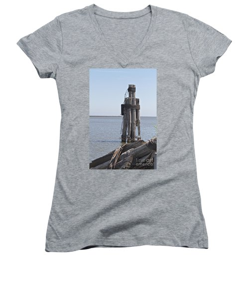 Women's V-Neck T-Shirt (Junior Cut) featuring the photograph Port Of Rochester by William Norton