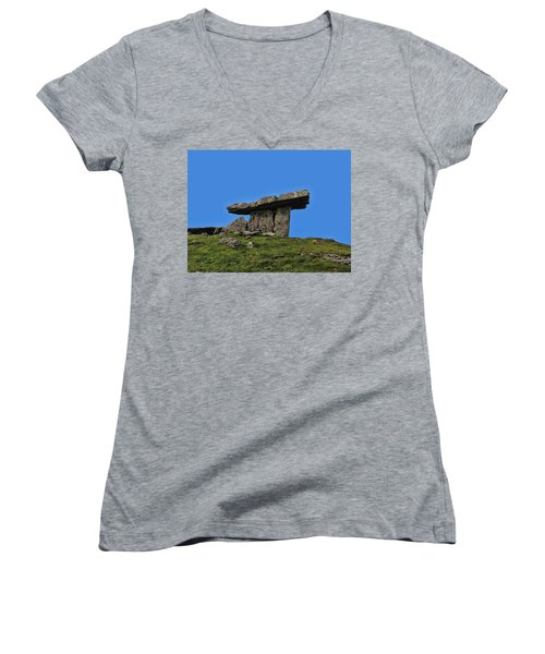 Women's V-Neck T-Shirt (Junior Cut) featuring the photograph Poulnabrone Dolmen by David Gleeson
