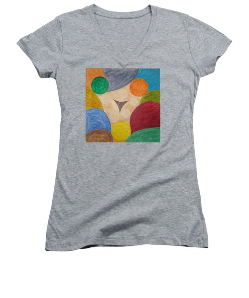 Women's V-Neck T-Shirt (Junior Cut) featuring the painting Power Of Colors by Sonali Gangane