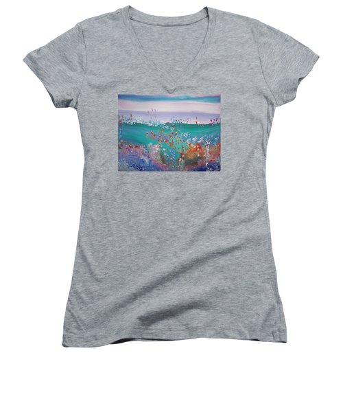 Pretty Garden Women's V-Neck T-Shirt (Junior Cut) by Judith Desrosiers