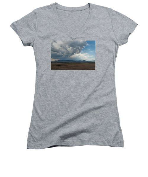 Women's V-Neck T-Shirt (Junior Cut) featuring the photograph Promises Of Rain by Fran Riley