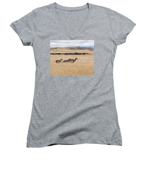 Women's V-Neck T-Shirt (Junior Cut) featuring the photograph Pronghorn Antelopes On The Run by Art Whitton