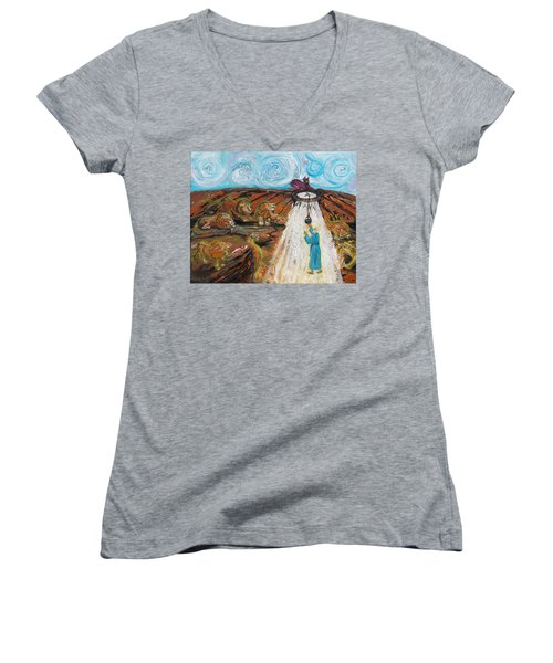 Prophetic Message Sketch 15 Daniel The Lion's Den And The Whirlwind Women's V-Neck