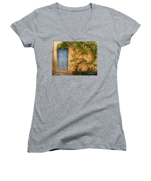 Provence Door 5 Women's V-Neck T-Shirt (Junior Cut) by Lainie Wrightson