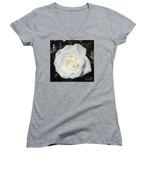 Pure White Rose Women's V-Neck (Athletic Fit)