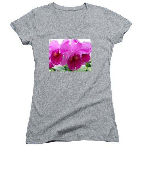 Women's V-Neck T-Shirt (Junior Cut) featuring the photograph Purple Explosion by Debbie Hart