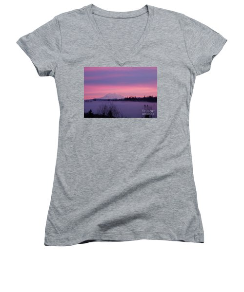 Women's V-Neck T-Shirt (Junior Cut) featuring the photograph Purple Mountain Majesty by Chalet Roome-Rigdon