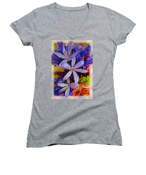 Women's V-Neck T-Shirt (Junior Cut) featuring the photograph Purple Stars by Debbie Portwood