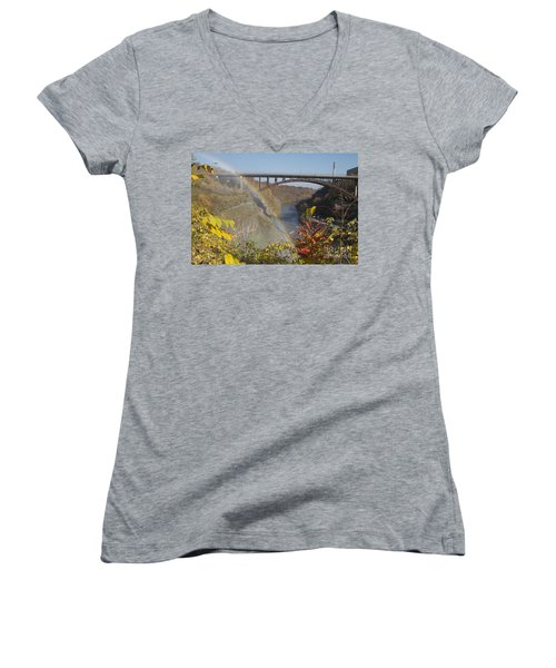 Women's V-Neck T-Shirt (Junior Cut) featuring the photograph Rainbow At Lower Falls by William Norton