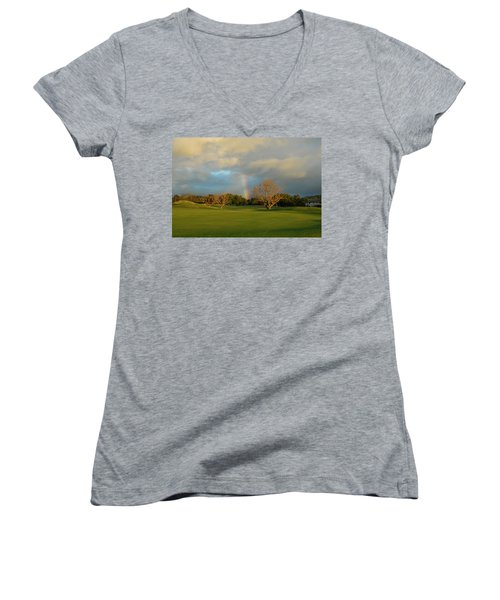 Women's V-Neck T-Shirt (Junior Cut) featuring the photograph Rainbow Over Princeville by Lynn Bauer
