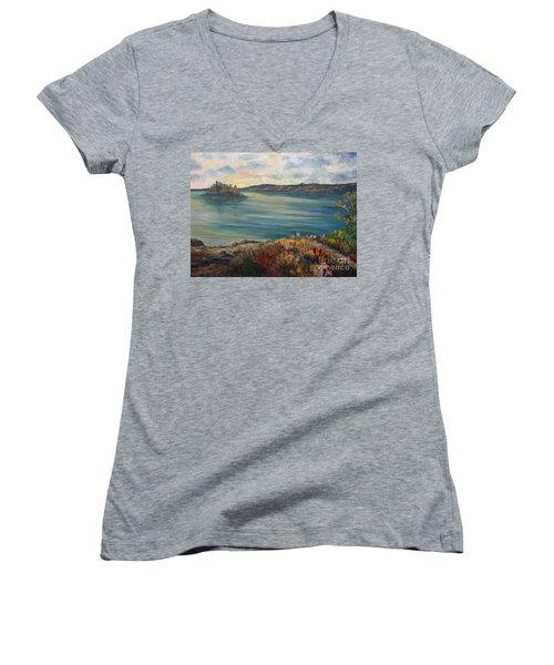 Women's V-Neck T-Shirt (Junior Cut) featuring the painting Rainy Lake Michigan by Julie Brugh Riffey