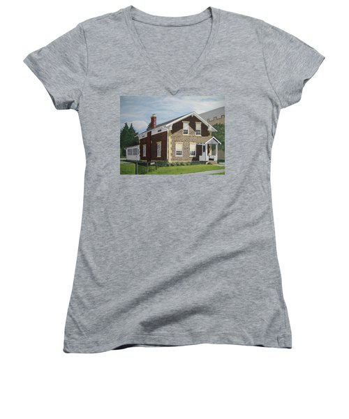 Women's V-Neck T-Shirt (Junior Cut) featuring the painting Rasey House by Norm Starks