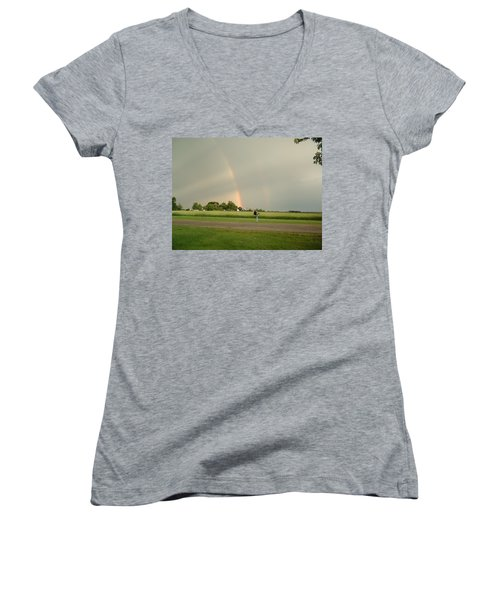 Women's V-Neck T-Shirt (Junior Cut) featuring the photograph Ray Bow by Bonfire Photography