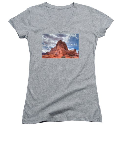 Reaching The Sky Women's V-Neck (Athletic Fit)