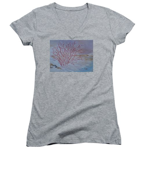 Red Branches Women's V-Neck T-Shirt (Junior Cut) by Judith Rhue