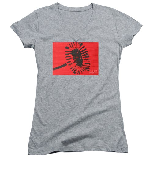 Red Women's V-Neck T-Shirt (Junior Cut)
