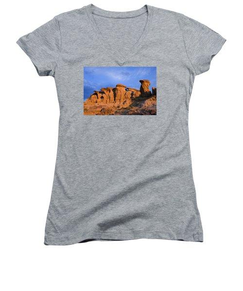 Red Rock Sunset Women's V-Neck T-Shirt